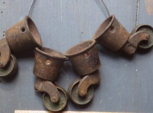 Vintage Brass Wheel Leg Casters