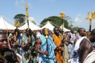 The chief's linguistics in procession during the festival
