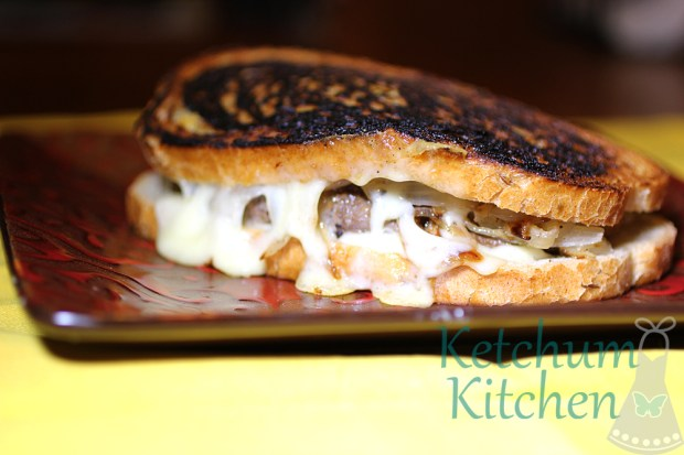 Patty Melt with Baby Swiss Cheese and Caramelized Onions on Russian Rye