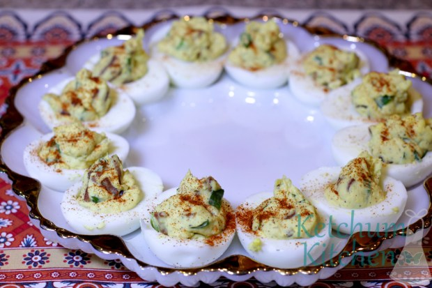 Deviled Eggs with Applewood Smoked Bacon and Green Onions