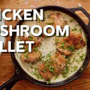 Keto chicken skillet with mushrooms and parmesan