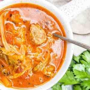 Keto Instant Pot Cabbage Sausage Soup