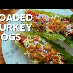 Loaded keto turkey dogs with guacamole