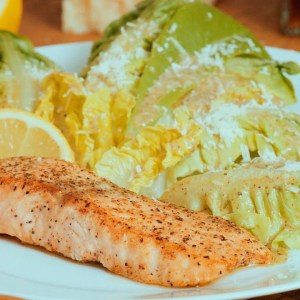 Seared lemon butter salmon with Italian salad