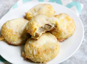 Keto Breakfast Biscuits Stuffed with Sausage and Cheese