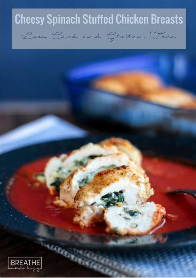 Keto Cheesy Spinach Stuffed Chicken Breast