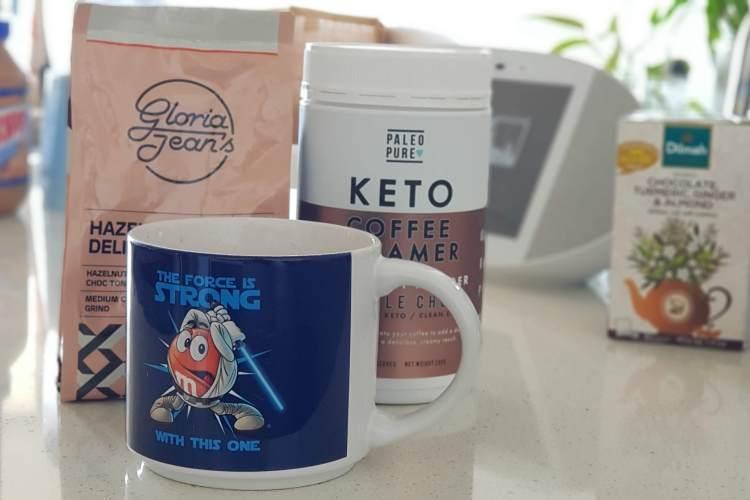 Paleo Pure Keto Coffee Creamer with mug and coffee