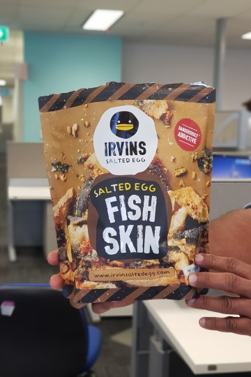 Packet of snacks - irvin salted egg fish skin