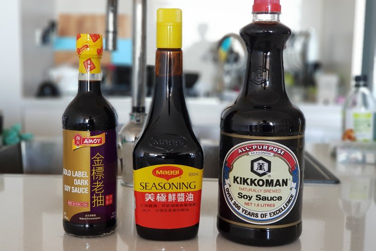 3 bottles of soy sauce for cooking