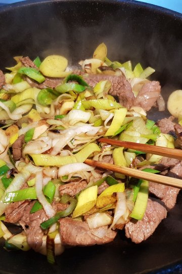 Keto meal cooking at home - beef and leek