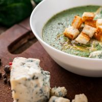 Creamy Blue Cheese Spinach and Broccoli Soup
