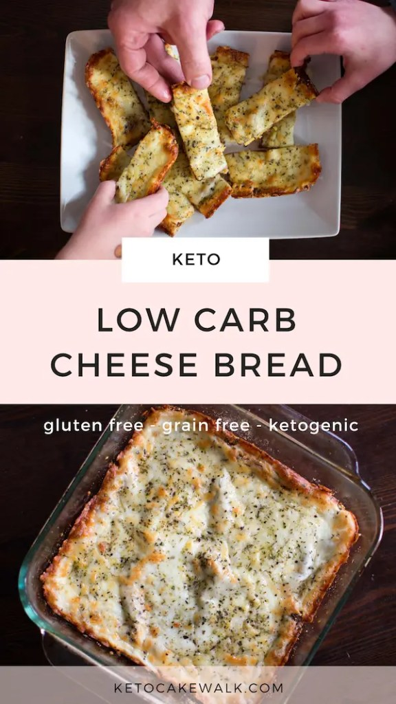 This low carb cheese bread tastes just like the stuff you get as takeout, only without all the carbs! #cheesebread #keto #lowcarb #glutenfree #grainfree #garlicbread
