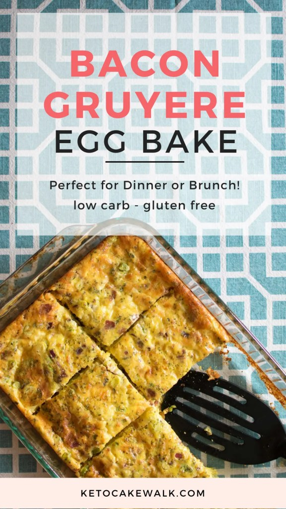 This super easy bacon gruyere egg bake is low in carbs and high in protein but tastes completely gourmet! #lowcarb #keto #breakfast #brunch #easy #bacongruyere #eggbake #quick #weeknightdinner #glutenfree #grainfree