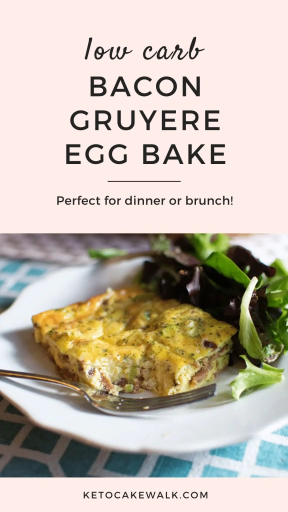 This bacon gruyere egg bake is one of the easiest things you'll ever make and it's sure to impress anyone you serve it to! #lowcarb #keto #breakfast #brunch #easy #bacongruyere #eggbake #quick #weeknightdinner #glutenfree #grainfree