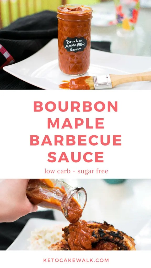 This bourbon maple keto bbq sauce is so easy to make and is totally sugar free! Healthy ingredients make up a sweet and smoky bbq sauce that goes perfectly on anything! #keto #lowcarb #bbq #sauce #condiments #bourbon #maple #glutenfree #grainfree #sugarfree