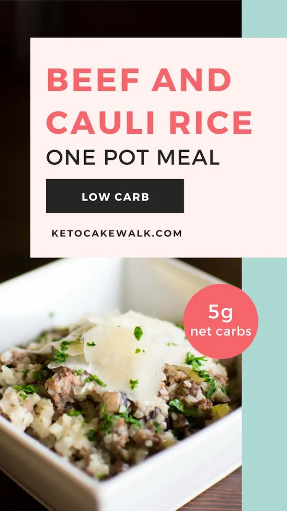 This beef and cauliflower rice skillet meal is super easy, tastes delicious, and makes cleanup a breeze by cooking in just one pot. #lowcarb #keto #dinner #skillet #easy #onepot #weeknight #glutenfree #grainfree