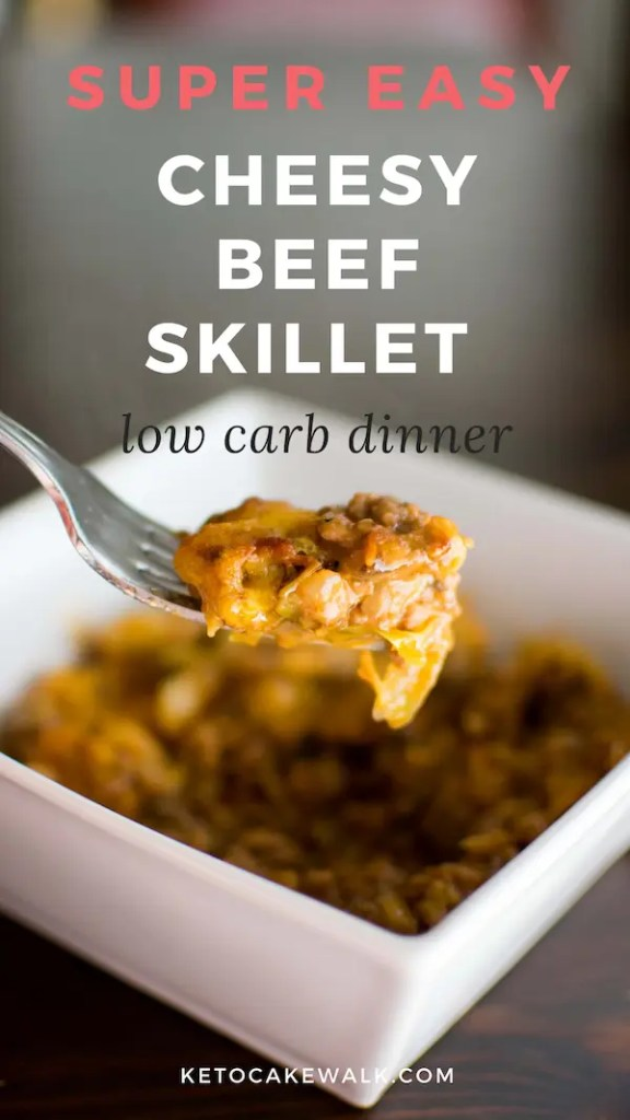 This easy cheesy beef skillet is a perfect weeknight meal. Comes together really quickly in just one pan! #lowcarb #keto #skillet #dinner #easy #beef #cheese #cabbage #comfortfood #glutenfree #grainfree