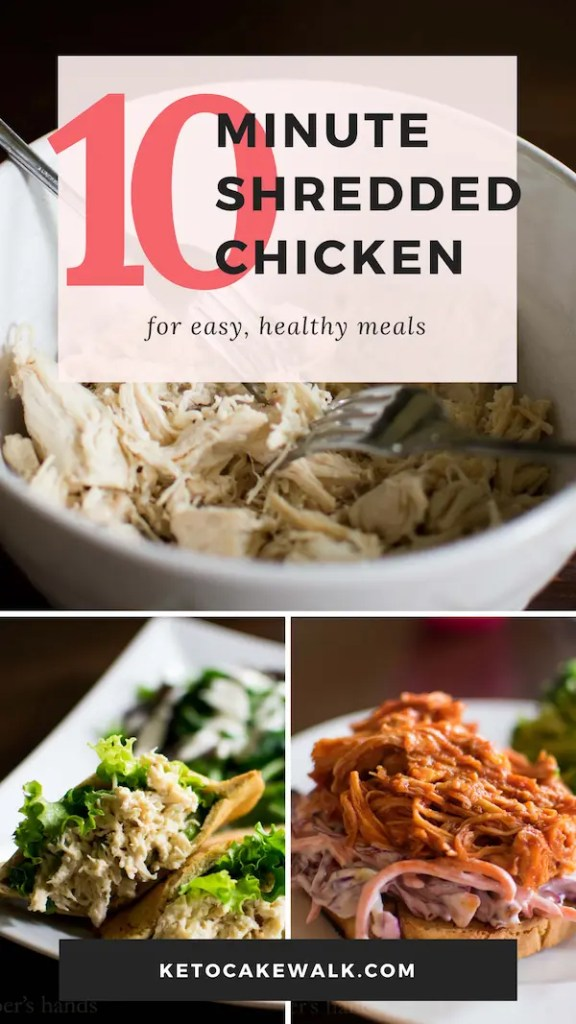 The easiest shredded chicken ever! Only takes ten minutes in the instant pot using FROZEN chicken! #instantpot #chicken #shreddedchicken #easy #healthy #lowcarb #keto #freezertoinstantpot #dinner