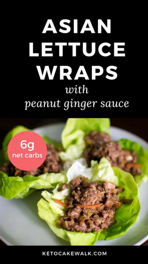 Super easy keto dinner that's fun for the whole family! Asian lettuce wraps with peanut ginger sauce! #keto #lowcarb #lettucecups #lettucewraps #easy #weeknight #dinner #ginger #peanut #glutenfree #grainfree #sugarfree