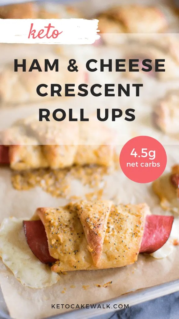 Super easy low carb lunch or dinner! These keto ham and cheese crescent roll ups are your new favorite. Kid approved! #lowcarb #keto #crescent #hamandcheese #rollup #dinner #lunch #glutenfree #grainfree #easy