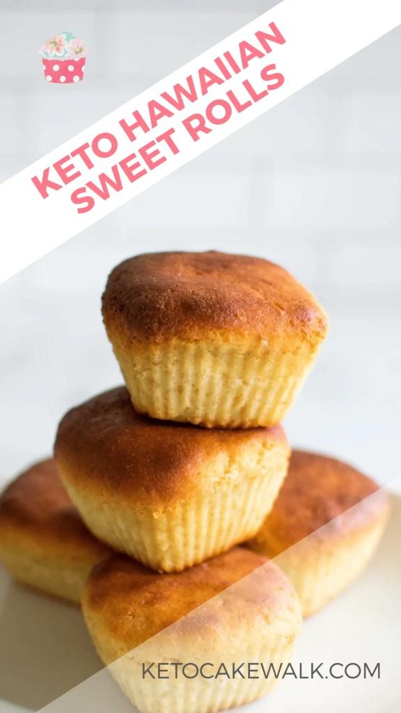 Hawaiian Sweet Rolls get keto-fied! All the sweet, bread goodness at only 5g net carbs per roll! #keto #lowcarb #rolls #hawaiianrolls #sweetrolls #bread #sandwiches #glutenfree #grainfree #sugarfree