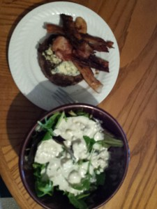 Dinner: bacon blue cheese burger (no bun) and a mixed green side salad topped with blue cheese dressing