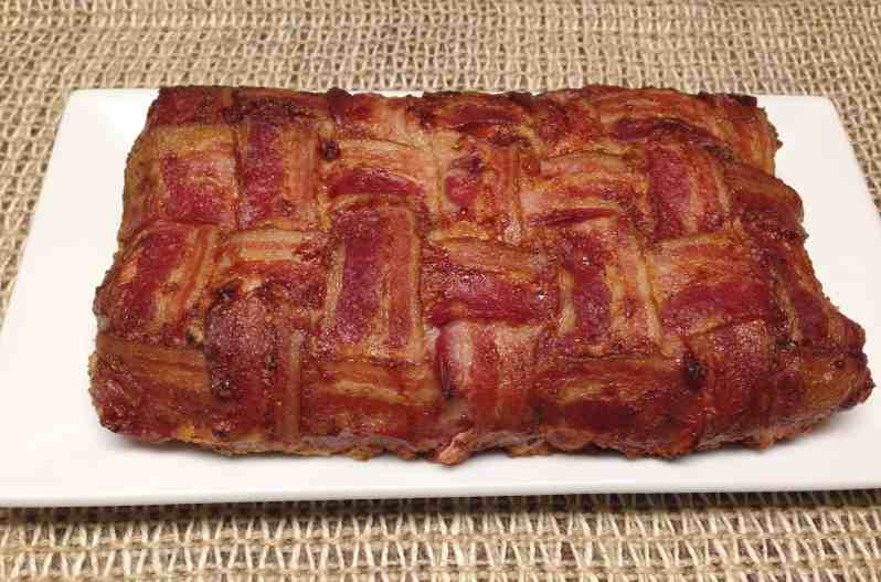 bacon weave wrapped meatloaf