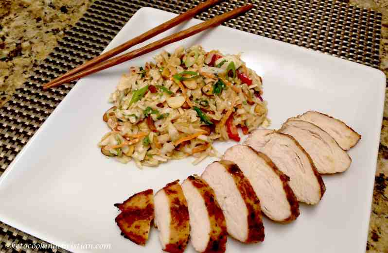 Grilled chicken with Asian Slaw Keto and Low Carb