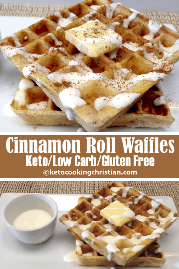 Cinnamon Roll Waffles with Cream Cheese Icing - Keto, Low Carb & Gluten Free