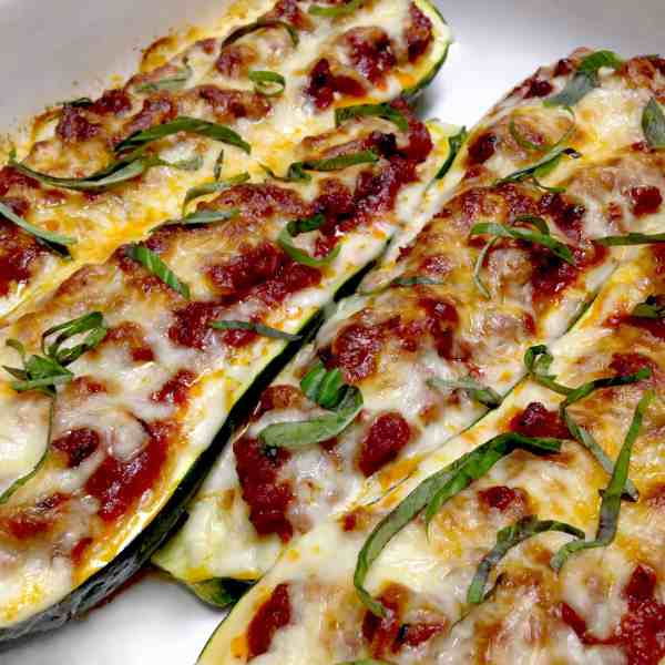 Lasagna Stuffed Zucchini Boats - Keto and Low Carb