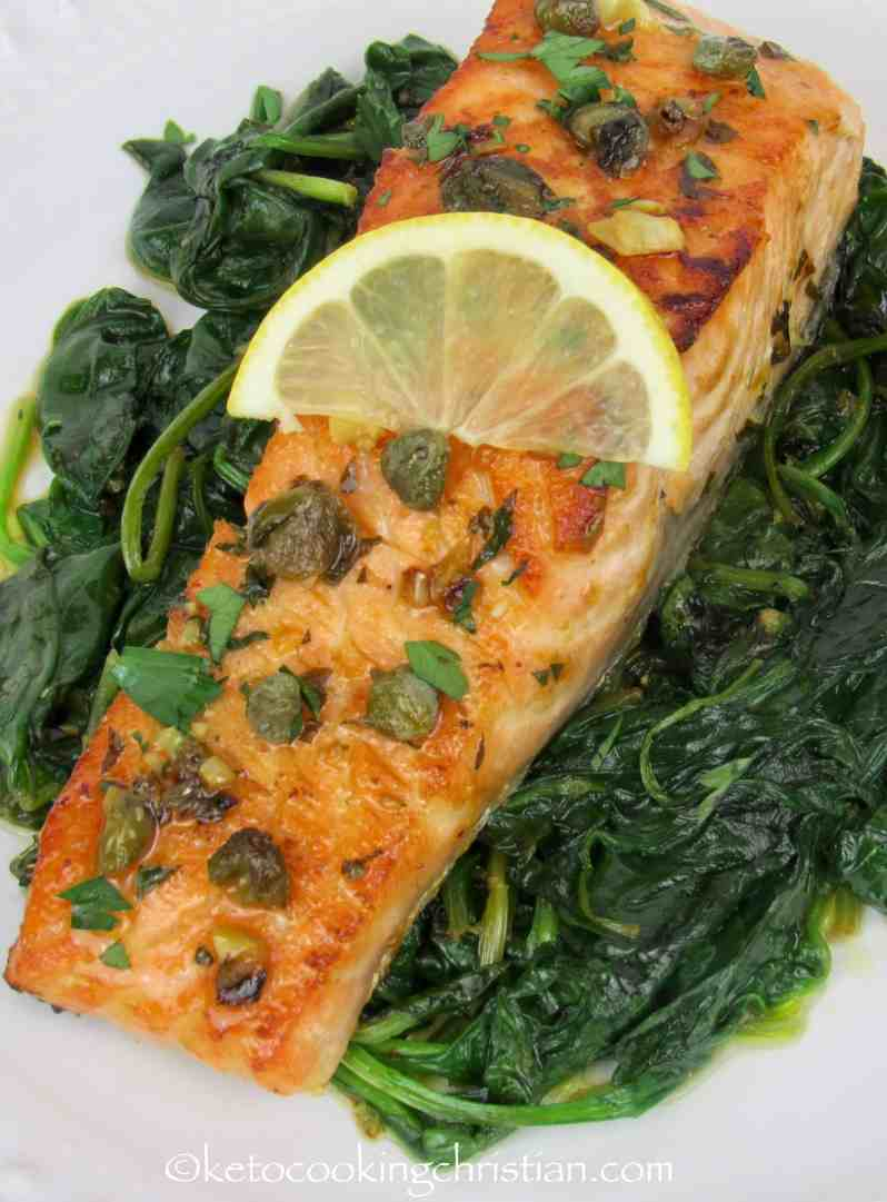 Easy Skillet Salmon Piccata with Spinach- Keto and Low Carb
