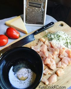 Prepping keto parmesan chicken