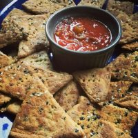 Sesame Garlic Fathead Crackers
