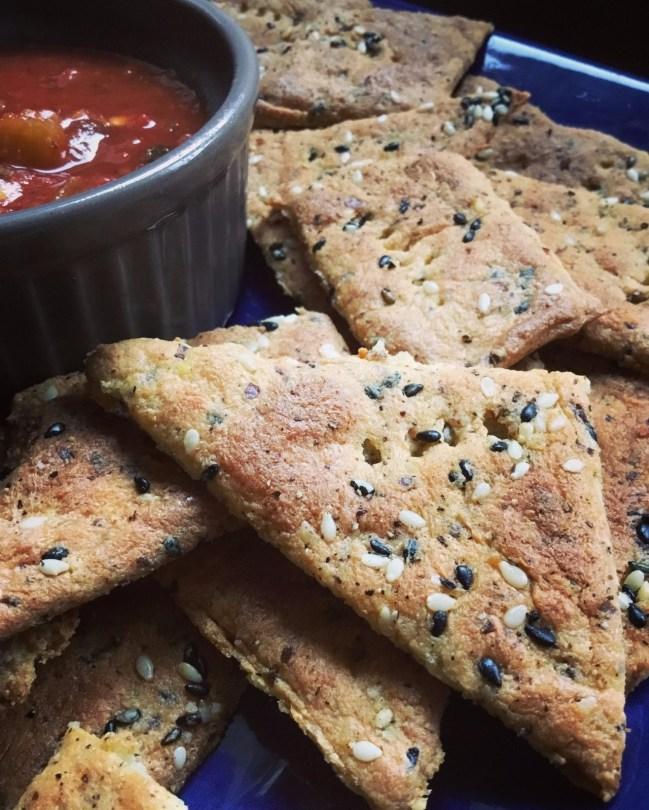 Laura's KetoKrust Sesame Garlic Crackers with Salsa