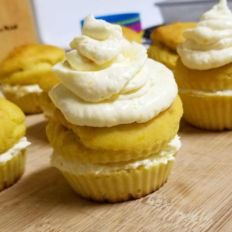 Orange Keto Cupcakes with Vanilla/Orange Cream Cheese Frosting