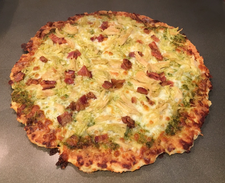 Chicken Crust Pesto Chicken Pizza