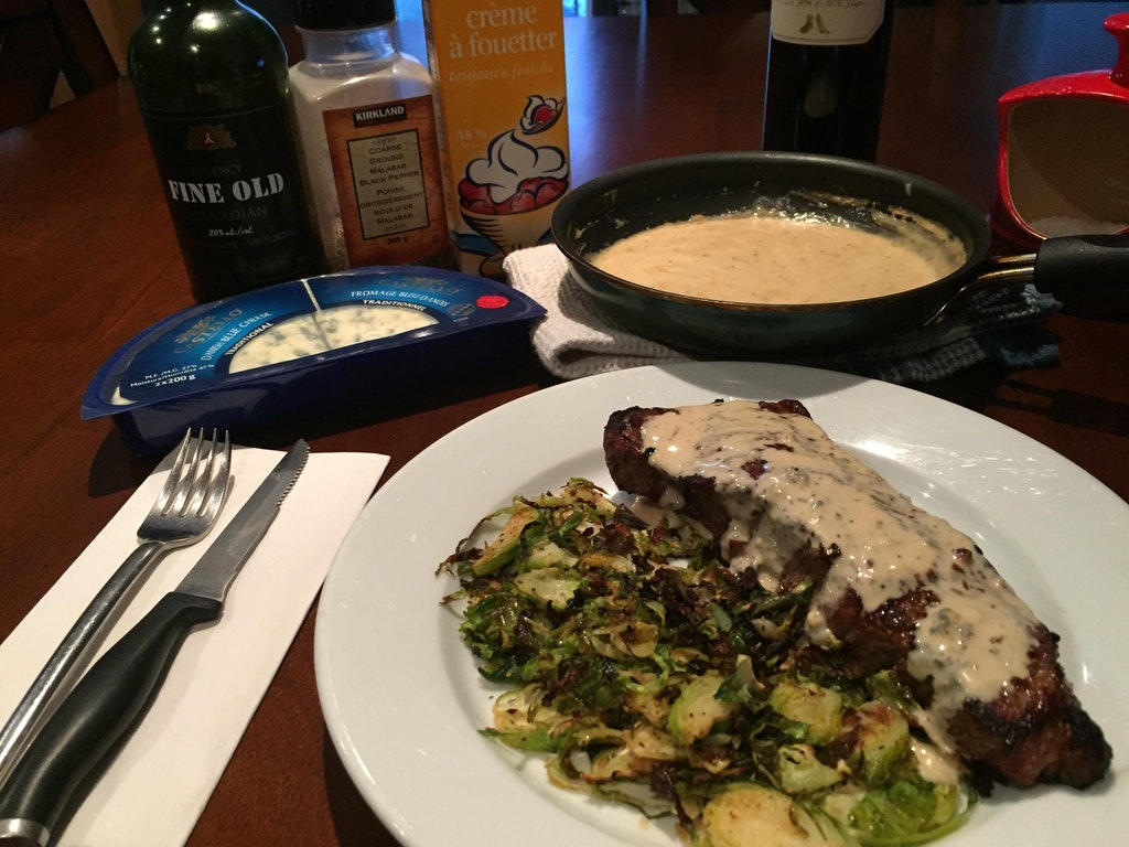 Bleu Cheese, Sherry, cream sauce with NY strip and shaved brussel sprouts