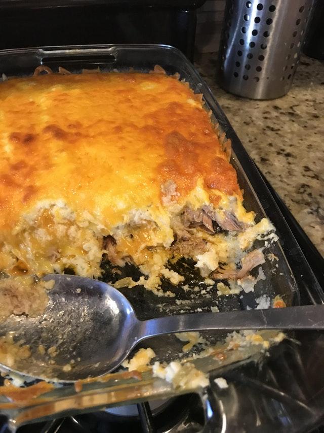 Smoked pulled pork and cauliflower shepherds pie. Yum!