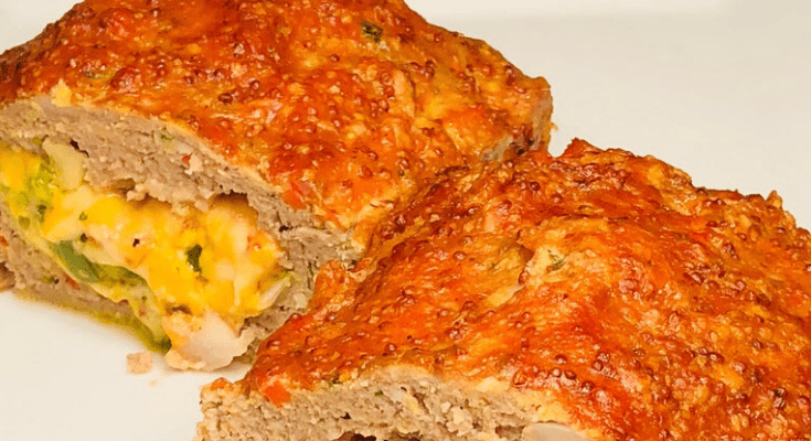Keto Jalapeno Popper Stuffed Turkey Meatloaf