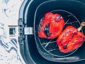 Red bell peppers in an air fryer