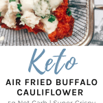 buffalo cauliflower with blue cheese and chives in a mini deep fryer basket