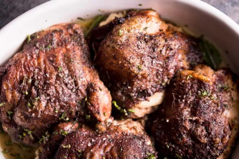 Low Carb Chicken Thighs Recipe - Baked Cinnamon Chicken with Mint Coconut Sauce