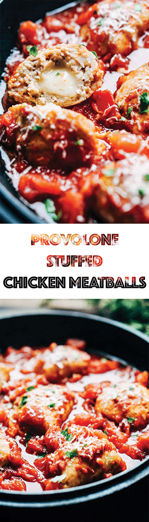 Chicken Meatballs Stuffed with Provolone Cheese Recipe - Slow Cooker, Crock Pot, Gluten-Free, Keto, Low Carb