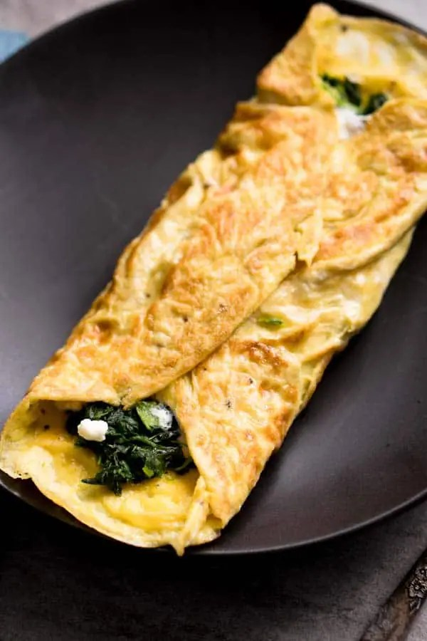 Goat Cheese Spinach Omelet Recipe - Keto Breakfast Ideas