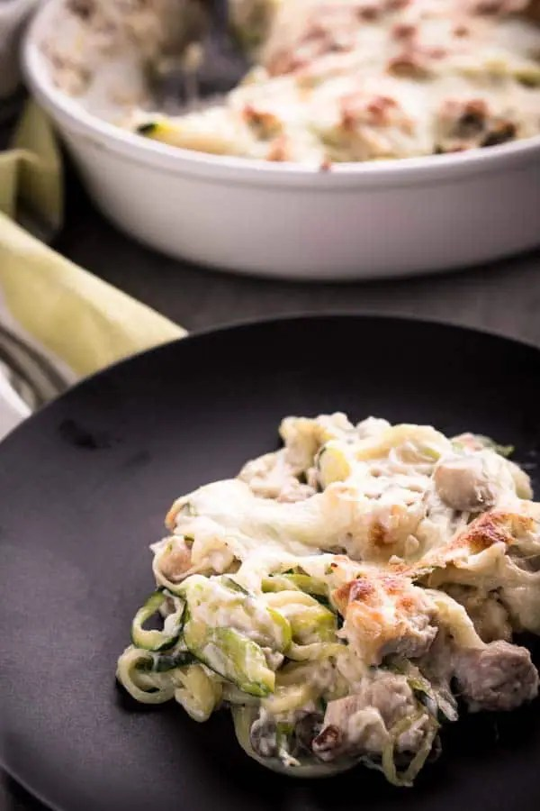 Chicken Tetrazzini with Zucchini Noodles - Low Carb, Keto, Gluten-Free