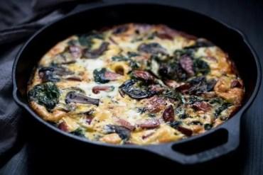 Smoked Sausage Frittata Recipe with Spinach & Mushroom