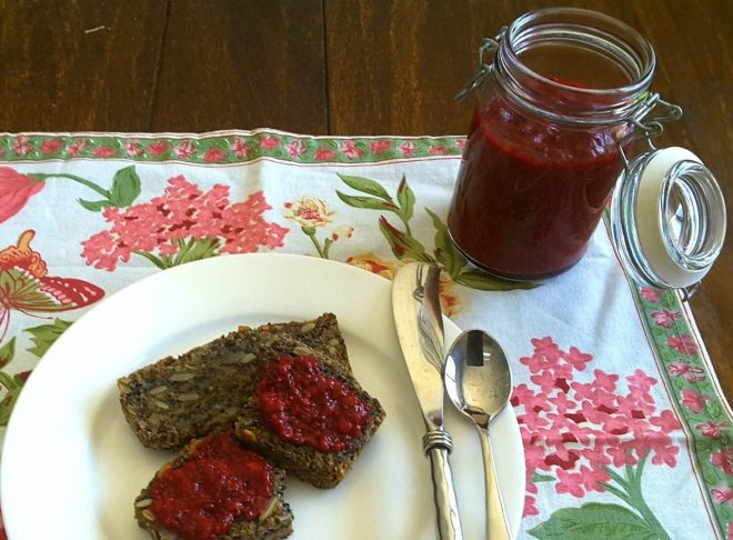 Low Carb Seed bread with Raspberry Chia Jam spread