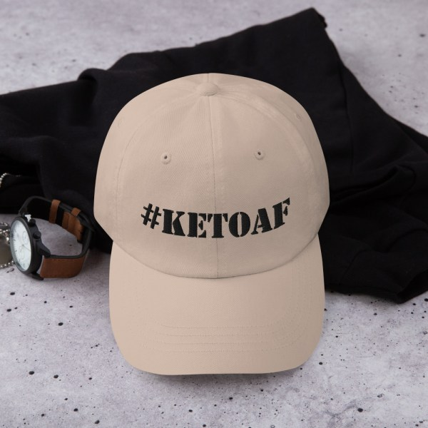 Stencil #KETOAF (Black) - Embroidered Dad Hat 1