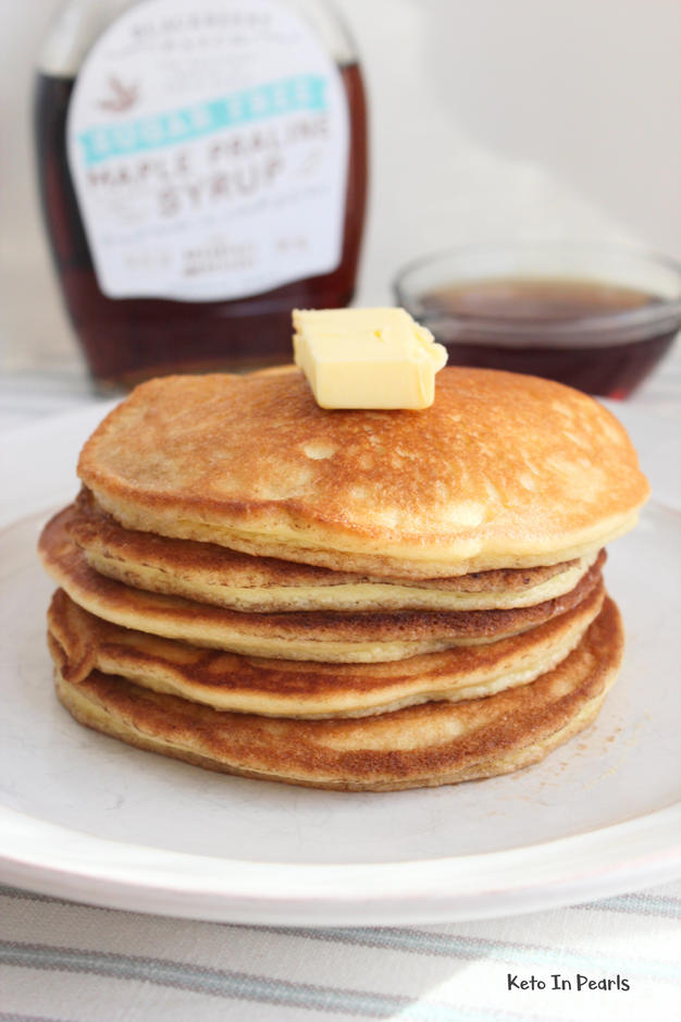 Thick, fluffy, and buttery keto pancakes! Only 2 net carbs per serving. If you missreal pancakes, then you will love these!