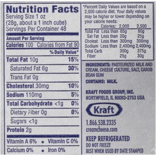 Kraft Philadelphia Original Cream Cheese Nutrition Label